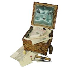 Antique Schoolgirl Sewing Basket and Darning Sampler Contents Edith Shaw 1900