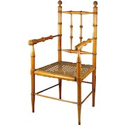 """19th Century French Faux Bamboo Doll Chair Maple and Cane  20"""" High Circa 1870 Napoleon III"""