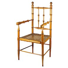 Antique French Doll Chair Maple and Cane Faux Bamboo Circa 1870 Napoleon III