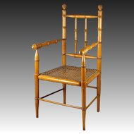 19th Century French Toy Chair For Doll or Teddy, Maple and Cane Faux Bamboo Circa 1870 Napoleon III