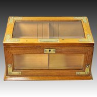 Antique Humidor Oak Brass Glass Cigar Box English Victorian Circa 1890 Quality