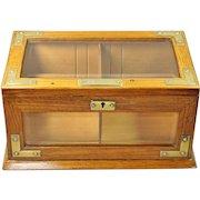 Antique Humidor Oak Brass Glass Cigar Box English Victorian Circa 1890 Quality