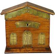 Antique 19th Century Treen Folk Art Money Box Bank Oak Brass British House Model Circa 1880