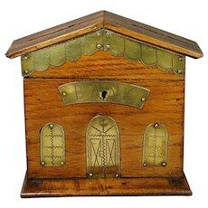 Treen Folk Art Money Box Coin Bank Oak Brass British House Model Circa 1880