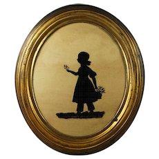 English 19th Century Oval Silhouette On Glass Little Girl Elizabeth Barrett Dated 1837 Original Gilt Pressed Frame