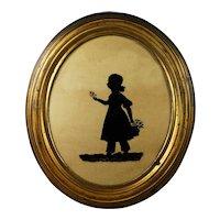 Antique 19th Century Silhouette On Glass, Elizabeth Barrett Dated 1837, Original Oval Gilt Pressed Brass Frame