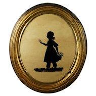 19th Century Silhouette On Glass Little Girl Elizabeth Barrett Dated 1837 Original Oval Gilt Pressed Brass Frame