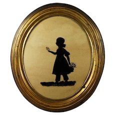 19th Century Silhouette On Glass Little Girl Elizabeth Barrett Dated 1837 Original Oval Gilt Pressed Brass Frame