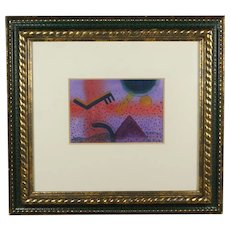 American Artist Copy Berg Abstract 20th Century Watercolor, 1987