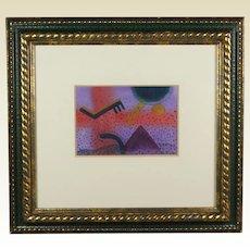 American Artist Copy Berg Abstract Landscape 20th Century Watercolor, 1987