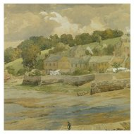 Atmospheric 19th Century English Watercolor Hooe Lake, Devon by Charles Davidson 1824-1902