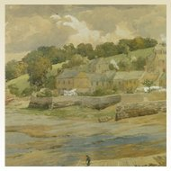 English Watercolor Devon Landscape by Charles Davidson 1824-1902