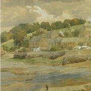 Atmospheric 19th Century English Watercolor Hooe Lake, Devon by Charles Davidson 1824-1902