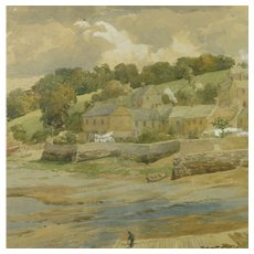 English Watercolor Devon Landscape by Charles Davidson 1824-1902