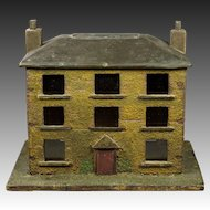 19th Century English Folk Art House Model Money Bank Box Georgian Circa 1830