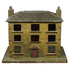 19th Century English Folk Art House Model Coin Bank Money Box Georgian Circa 1830