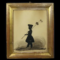 Antique Early 19th Century Full Length Silhouette Young Girl Gilt Frame Georgian 1835