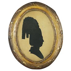 18th Century Hollow Cut Silhouette Portrait Of A Lady By Sarah Harrington Georgian Era Circa 1775 Big Hair