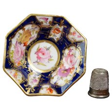 Antique 19th Century Miniature Doll Bowl, Floral, Cobalt Blue, Coalport Porcelain, English Circa 1820 Regency Era AF