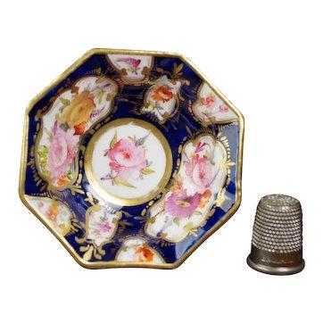 Antique 19th Century Miniature Doll Bowl, Floral, Cobalt Blue, Coalport Porcelain, English Circa 1820 Regency Era AF