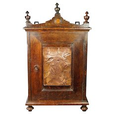 Antique Eastlake Style Oak Cabinet Cupboard Circa 1910 with Copper Dog Panel