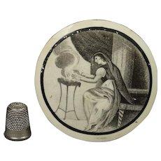 English 18th Century Liverpool Creamware Plaque Roundel Bat Printed Allegory of Winter Bartolozzi after Cipriani Circa 1780s Georgian
