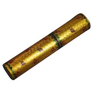 18th Century French Love Letter Case Billet Doux Bodkin Case Gold Vernis Martin Moths Circa 1780 Romantic