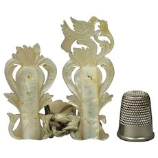 Palais Royal Knitting Guard Protector Needle Tip Guards Mother of Pearl Bird Circa 1820 AF