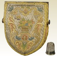 Rarest 18th Century Georgian Purse Museum Condition Circa 1720 Shield Shape Cloth of Silver Steel Mitre Frame
