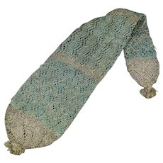 Antique 18th Century Stocking Purse Knitted Long Purse Georgian Circa 1790