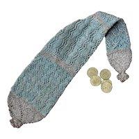 18th Century Knitted Long Purse Silk Silver Thread, Georgian, Circa 1790 Museum Worthy