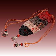 Vintage 1930s Beaded Flapper Purse Beadwork Reticule Bag Red Black Pom Poms