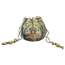 French 18th Century Sable Beadwork Bag Beaded Drawstring Purse Circa to 1725 to 1750