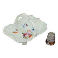 Antique 19th Century English Miniature Porcelain Basket, Hand Painted Floral Circa 1840