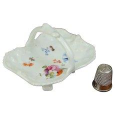 Antique 19th Century English Miniature Porcelain Basket, Hand Painted Floral Circa 1840