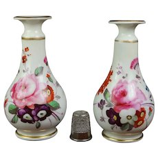 Antique 19th Century Pair Miniature Porcelain Vases, Regency Era, Hand Painted Floral, C 1820 AF