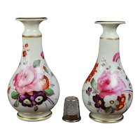 Regency Pair Miniature Porcelain Vases, Hand Painted Floral, C 1820 AF