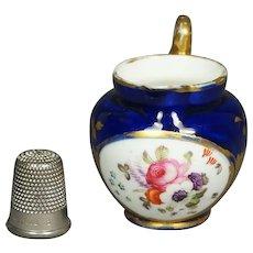 Antique 19th Century Coalport Dolls House Miniature Porcelain Jug Toy Pitcher Cobalt Blue Floral Georgian Circa 1820