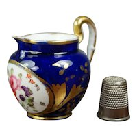 Antique 19th Century Coalport Porcelain Miniature Jug, Toy Pitcher, Cobalt Blue, Floral Regency Circa 1820