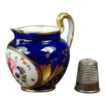 Antique 19th Century Coalport Porcelain Miniature Jug, Toy Pitcher, Cobalt Blue, Floral Regency Circa 1820