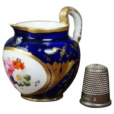 Antique 19th Century Dolls Miniature Coalport Porcelain Jug, Toy Pitcher, Cobalt Blue, Floral, Georgian Circa 1820 AF