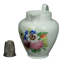 19th Century Miniature Porcelain Jug Doll Size Pitcher Floral Circa 1830 English