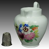 19th Century Miniature Porcelain Jug Doll Size Pitcher Floral Circa 1830 English