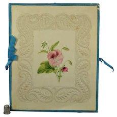 19th Century Windsor Embossed Paper Folio Album Cover Case Floral Watercolor Paintings Georgian Circa 1830