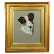 Dog Painting Jack Russell Terrier Watercolor Signed G Louis Grover 1920 Art Deco