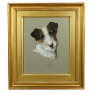 Vintage Dog Painting Terrier Watercolor Signed G Louis Grover 1920 Art Deco