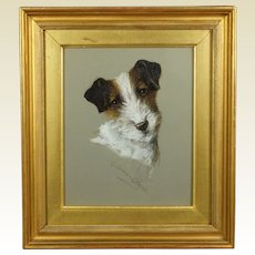 Antique Dog Painting Terrier Watercolor Signed G Louis Grover