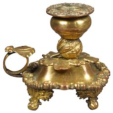 Antique French Gilt Chamberstick Candlestick Bougeoir Rococo Shell Pattern 1880