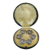 Antique Sterling Silver Button Set of Six, Greyhound Dog Diana The Huntress, Archery Roman Mythology Circa 1890