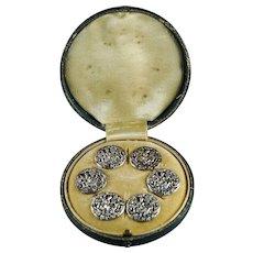 Antique Sterling Silver Button Set of Six Greyhound Dog Diana The Huntress Archery Roman Mythology Circa 1890